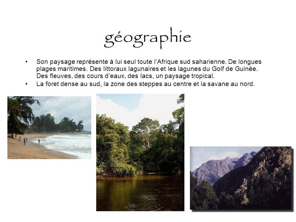 géographie Son paysage représente à lui seul toute l'Afrique sud saharienne. De longues plages maritimes. Des littoraux lagunaires et les lagunes du G