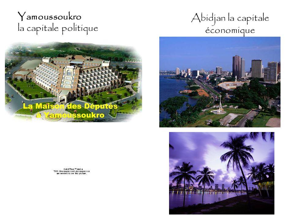 Abidjan la capitale économique Yamoussoukro la capitale politique