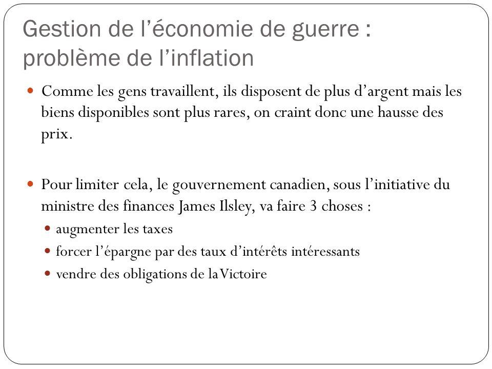 Gestion de l'économie de guerre : problème de l'inflation Comme les gens travaillent, ils disposent de plus d'argent mais les biens disponibles sont plus rares, on craint donc une hausse des prix.