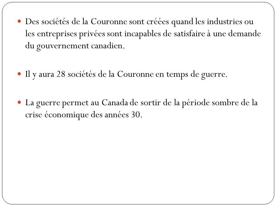 Des sociétés de la Couronne sont créées quand les industries ou les entreprises privées sont incapables de satisfaire à une demande du gouvernement canadien.