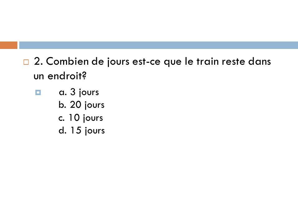  2. Combien de jours est-ce que le train reste dans un endroit?  a. 3 jours b. 20 jours c. 10 jours d. 15 jours