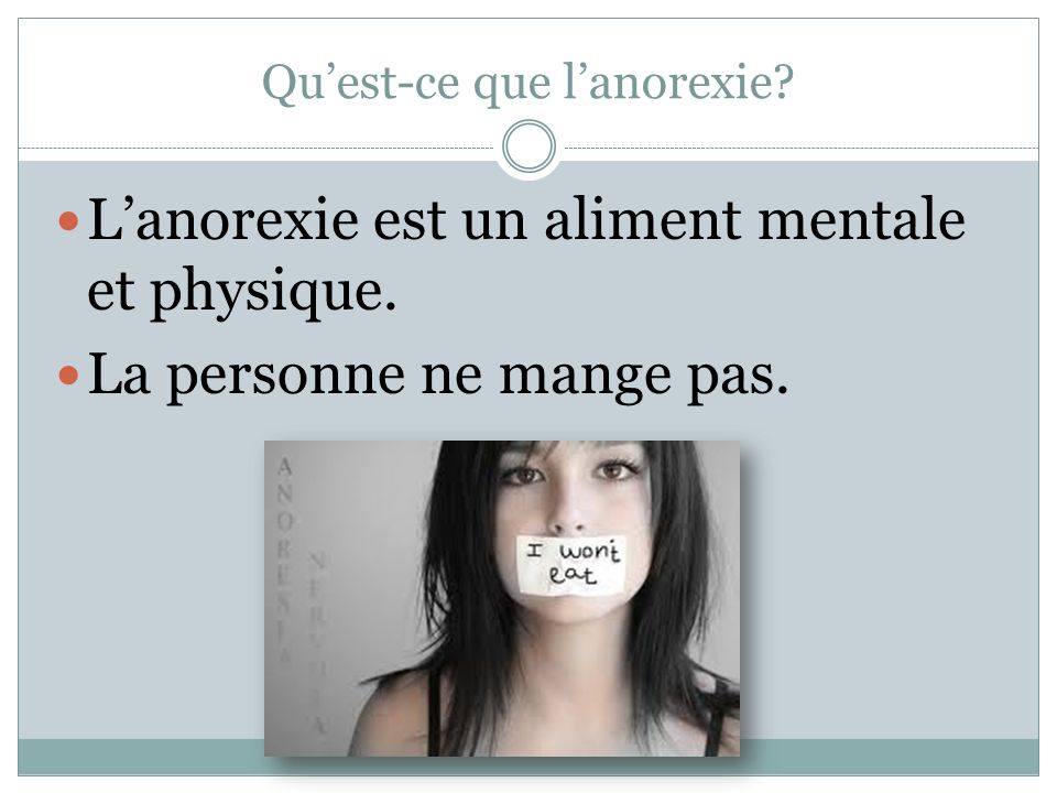 Qui a l'anorexie.Beaucoup des personnes ont l'anorexie.