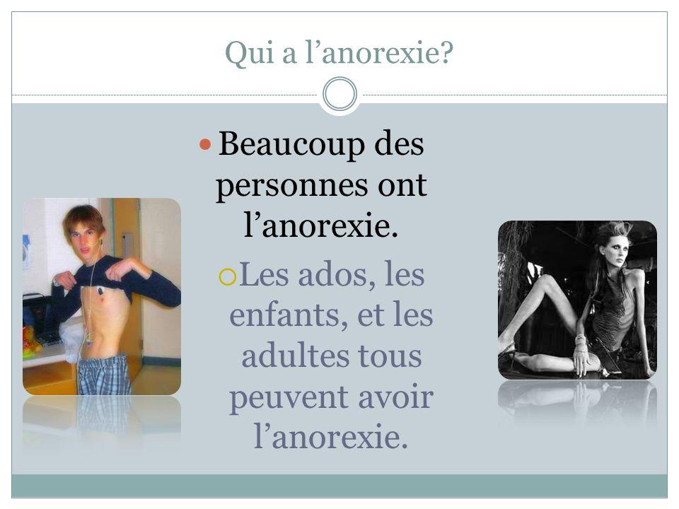 Les symptômes de l'anorexie… Une personne ne mangerai pas.