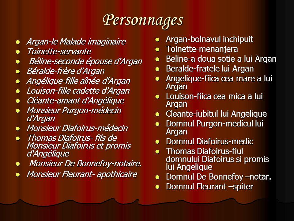 Personnages Argan-le Malade imaginaire Argan-le Malade imaginaire Toinette-servante Toinette-servante Béline-seconde épouse d'Argan Béline-seconde épo