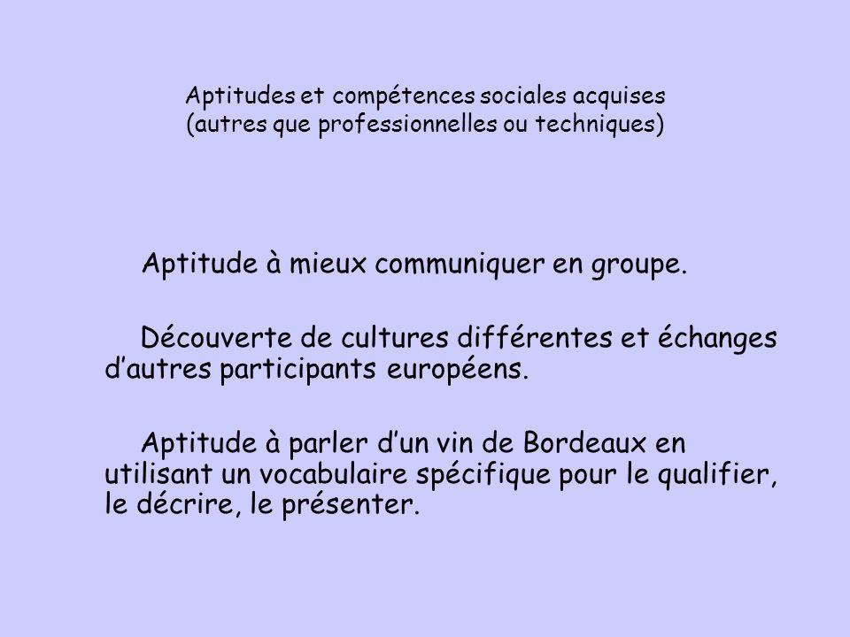Aptitudes et compétences sociales acquises (autres que professionnelles ou techniques) Aptitude à mieux communiquer en groupe.