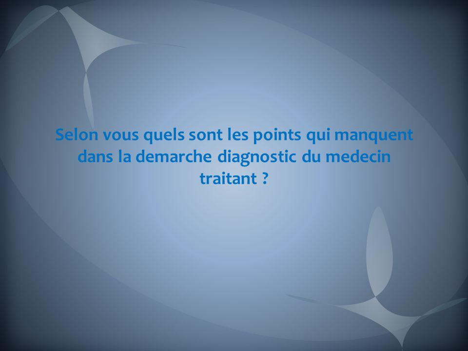 Selon vous quels sont les points qui manquent dans la demarche diagnostic du medecin traitant ?