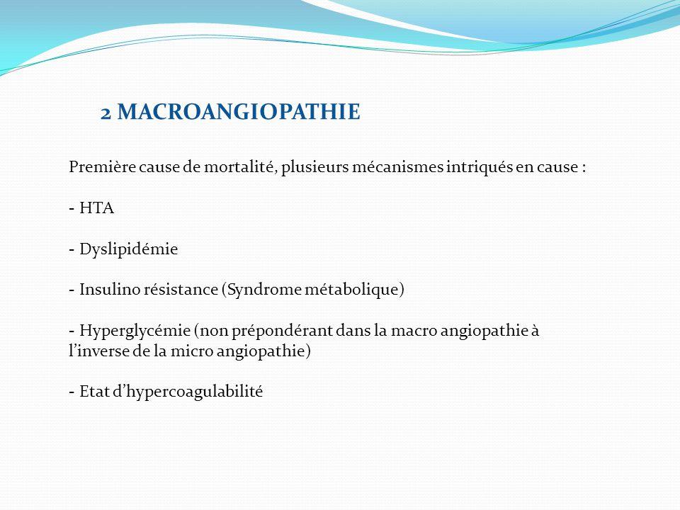 2 MACROANGIOPATHIE Première cause de mortalité, plusieurs mécanismes intriqués en cause : - HTA - Dyslipidémie - Insulino résistance (Syndrome métabol