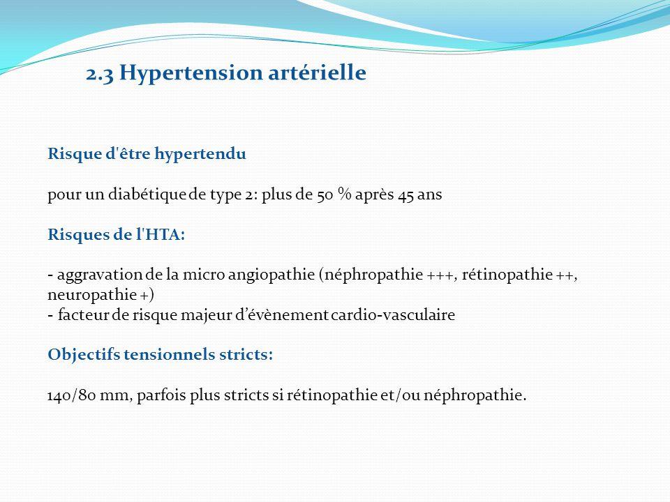 2.3 Hypertension artérielle Risque d'être hypertendu pour un diabétique de type 2: plus de 50 % après 45 ans Risques de l'HTA: - aggravation de la mic