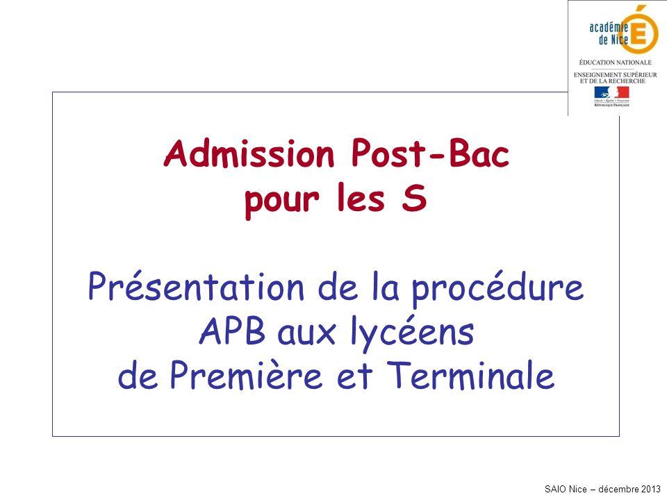 SAIO Nice – décembre 2013 Admission Post-Bac pour les S Présentation de la procédure APB aux lycéens de Première et Terminale