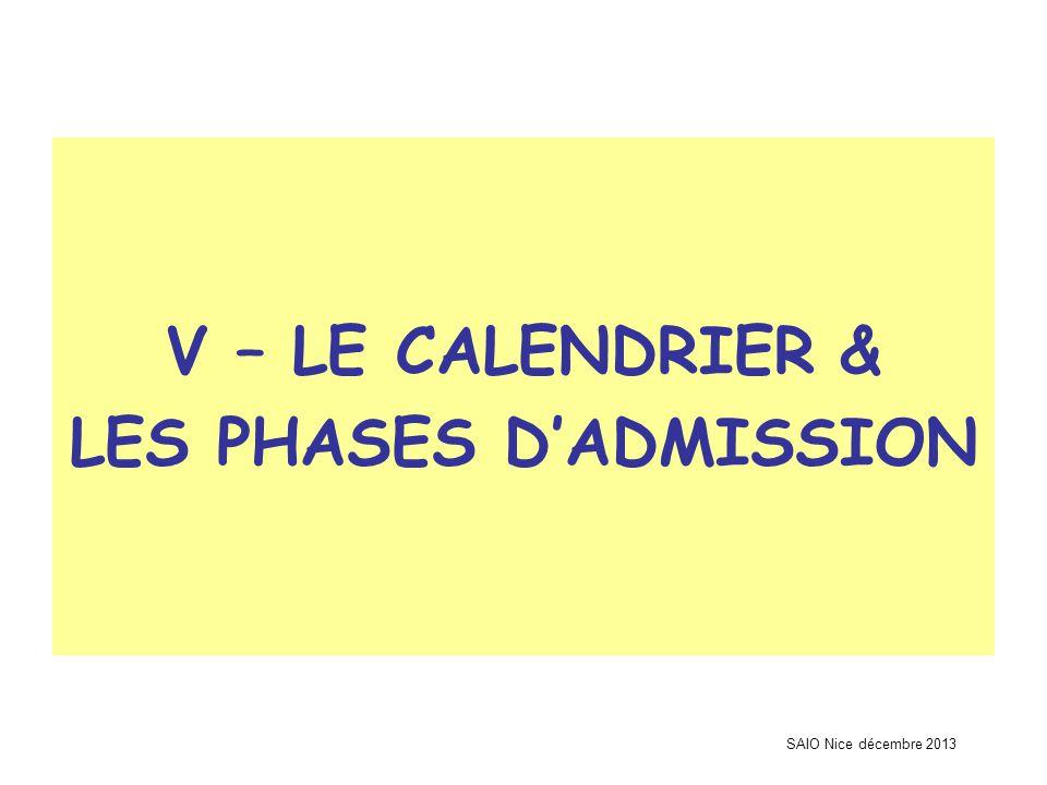 SAIO Nice décembre 2013 V – LE CALENDRIER & LES PHASES D'ADMISSION