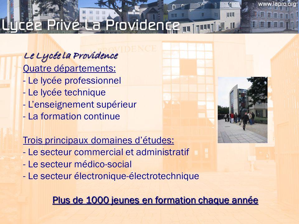 Le Lycée la Providence Quatre départements: - Le lycée professionnel - Le lycée technique - L'enseignement supérieur - La formation continue Trois pri