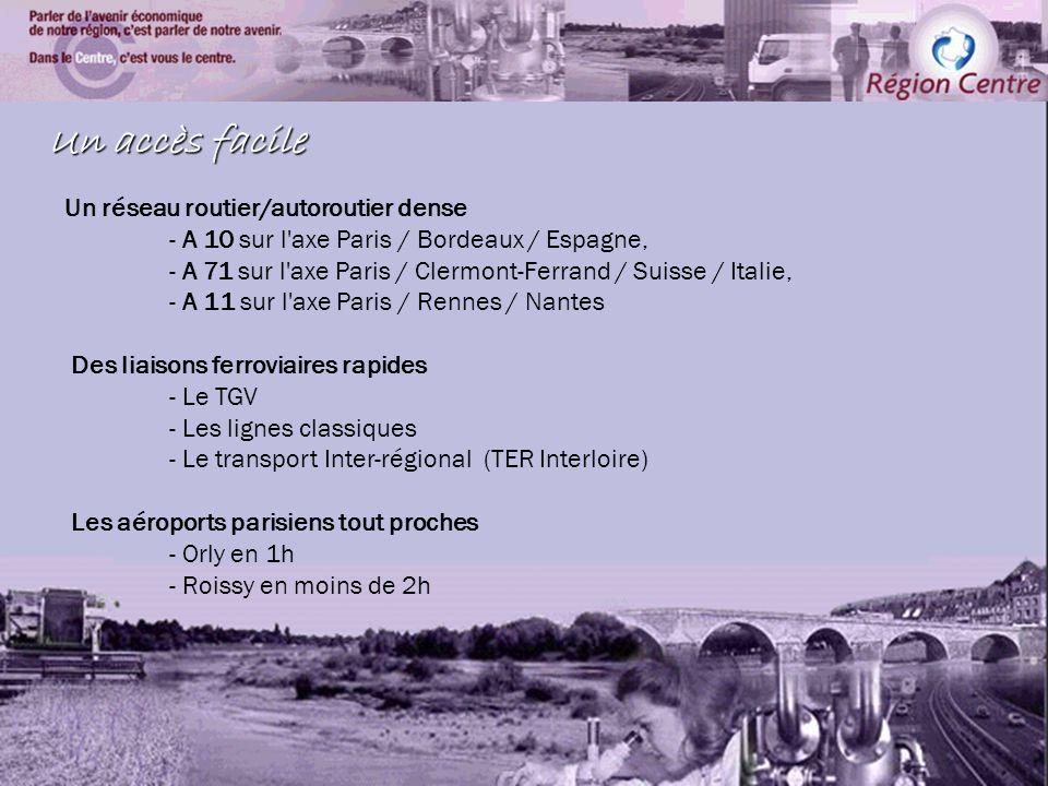 Economie dans la région centre Un accès facile Un réseau routier/autoroutier dense - A 10 sur l axe Paris / Bordeaux / Espagne, - A 71 sur l axe Paris / Clermont-Ferrand / Suisse / Italie, - A 11 sur l axe Paris / Rennes / Nantes Des liaisons ferroviaires rapides - Le TGV - Les lignes classiques - Le transport Inter-régional (TER Interloire) Les aéroports parisiens tout proches - Orly en 1h - Roissy en moins de 2h