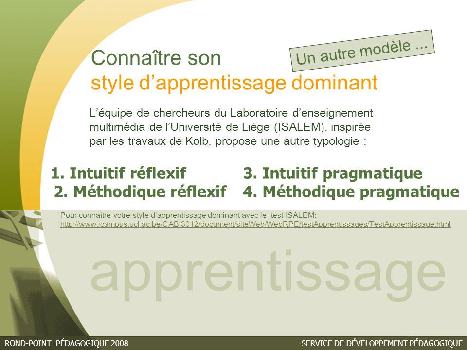 SERVICE DE DÉVELOPPEMENT PÉDAGOGIQUEROND-POINT PÉDAGOGIQUE 2008 Connaître son style d'apprentissage dominant apprentissage 1.