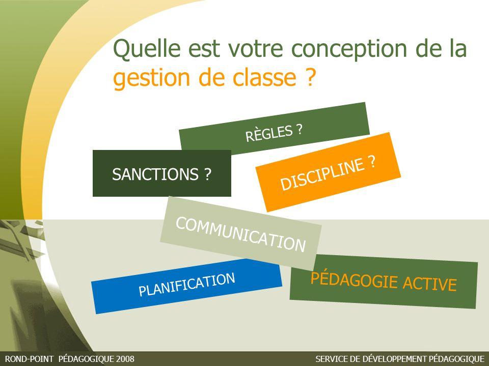 SERVICE DE DÉVELOPPEMENT PÉDAGOGIQUEROND-POINT PÉDAGOGIQUE 2008 Quelle est votre conception de la gestion de classe .