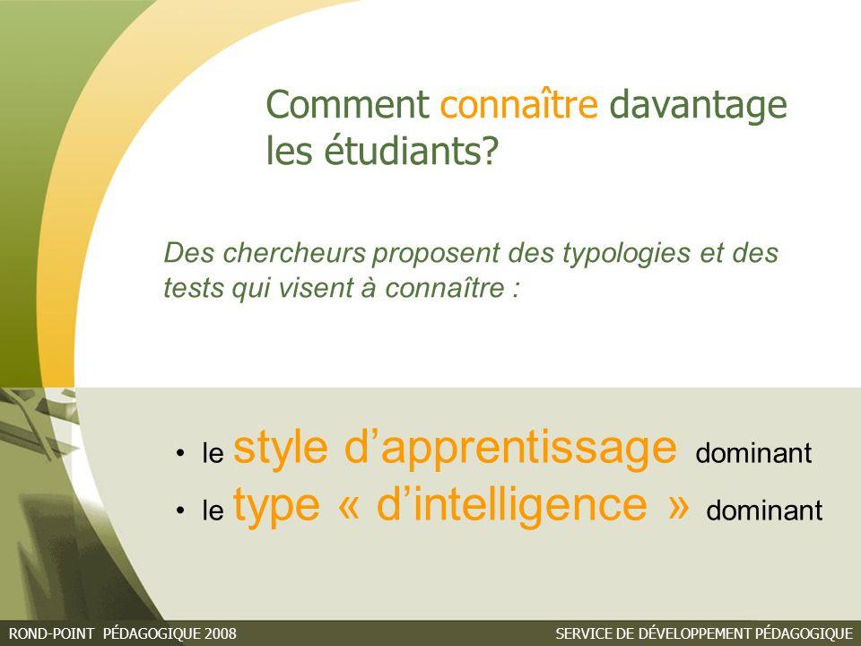 SERVICE DE DÉVELOPPEMENT PÉDAGOGIQUEROND-POINT PÉDAGOGIQUE 2008 Connaître son style d'apprentissage dominant David A.