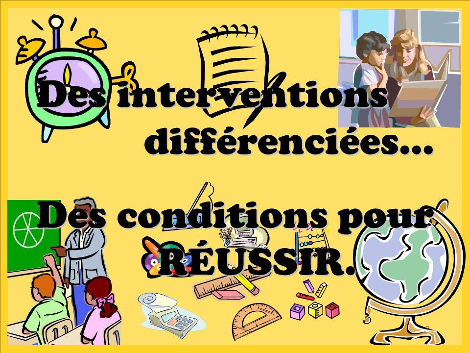 13 Des interventions différenciées… Des interventions différenciées… Des conditions pour RÉUSSIR. Des conditions pour RÉUSSIR.