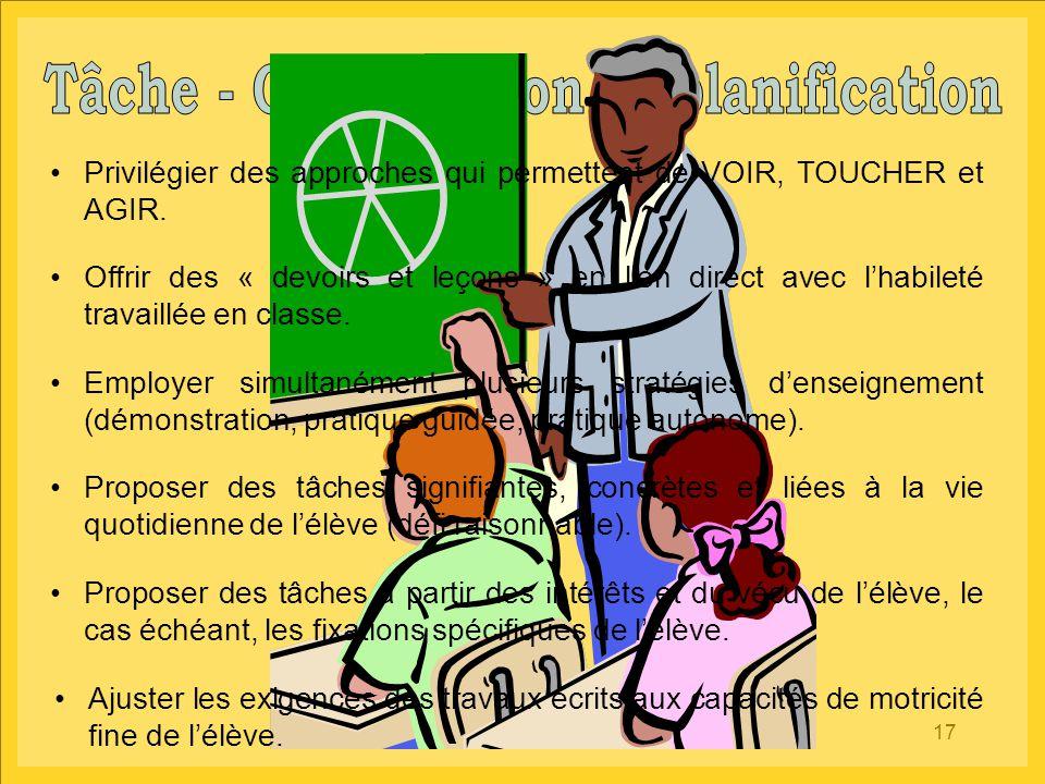 17 Privilégier des approches qui permettent de VOIR, TOUCHER et AGIR. Offrir des « devoirs et leçons » en lien direct avec l'habileté travaillée en cl