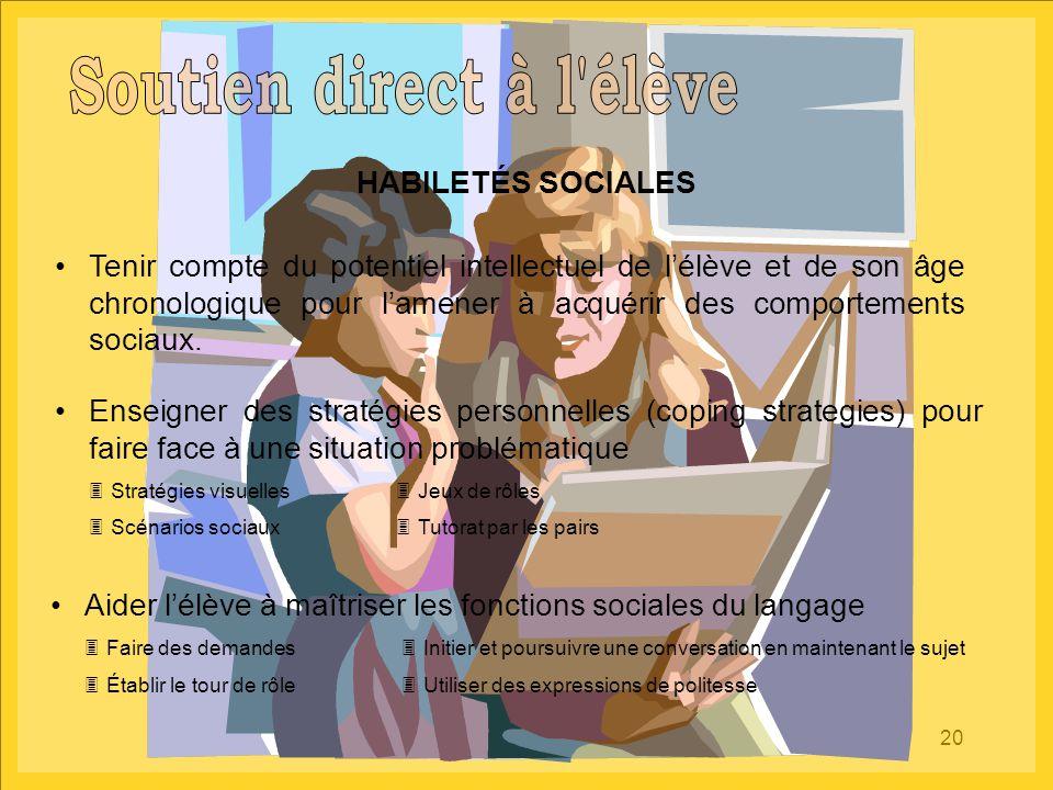 20 HABILETÉS SOCIALES Aider l'élève à maîtriser les fonctions sociales du langage  Faire des demandes  Initier et poursuivre une conversation en mai