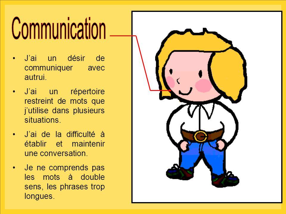 5 J'ai un désir de communiquer avec autrui. J'ai un répertoire restreint de mots que j'utilise dans plusieurs situations. J'ai de la difficulté à étab