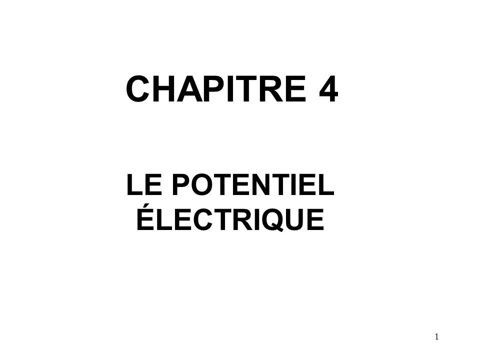 1 CHAPITRE 4 LE POTENTIEL ÉLECTRIQUE