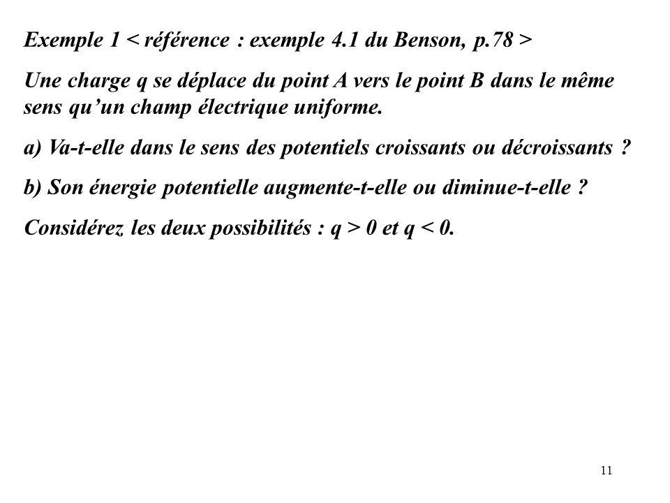 11 Exemple 1 Une charge q se déplace du point A vers le point B dans le même sens qu'un champ électrique uniforme. a) Va-t-elle dans le sens des poten