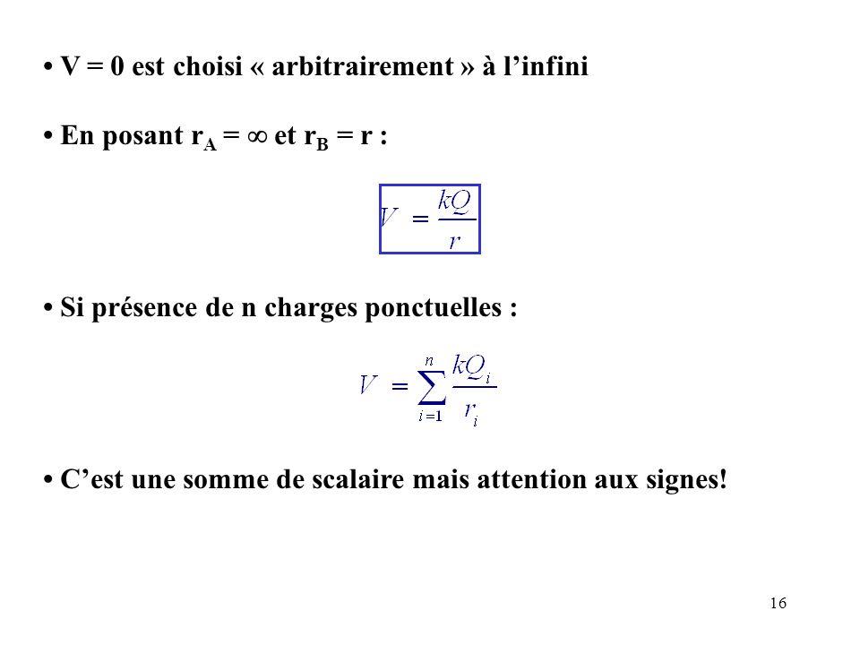 16 V = 0 est choisi « arbitrairement » à l'infini En posant r A =  et r B = r : Si présence de n charges ponctuelles : C'est une somme de scalaire ma