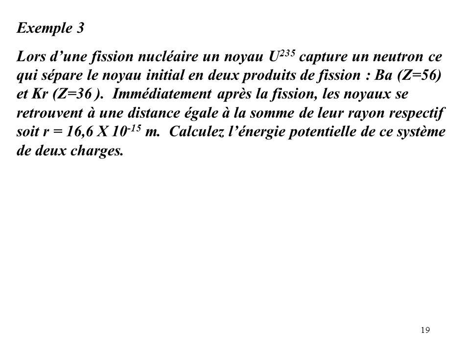 19 Exemple 3 Lors d'une fission nucléaire un noyau U 235 capture un neutron ce qui sépare le noyau initial en deux produits de fission : Ba (Z=56) et