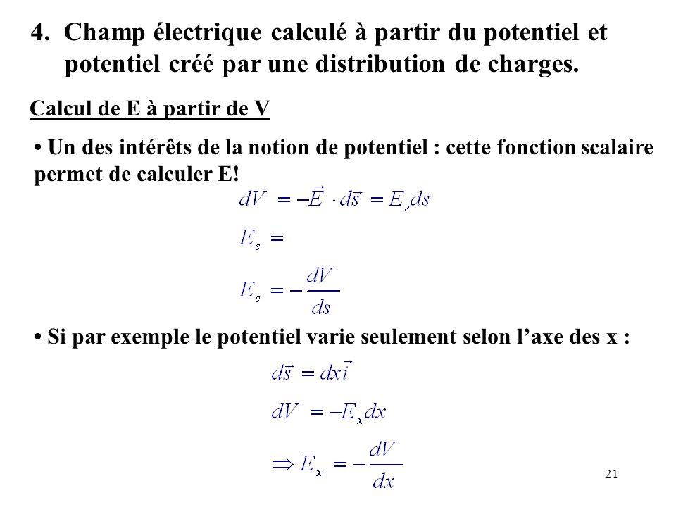 21 4. Champ électrique calculé à partir du potentiel et potentiel créé par une distribution de charges. Un des intérêts de la notion de potentiel : ce