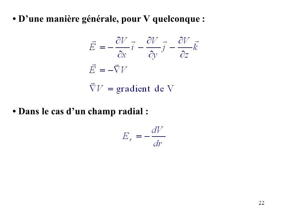 22 D'une manière générale, pour V quelconque : Dans le cas d'un champ radial :