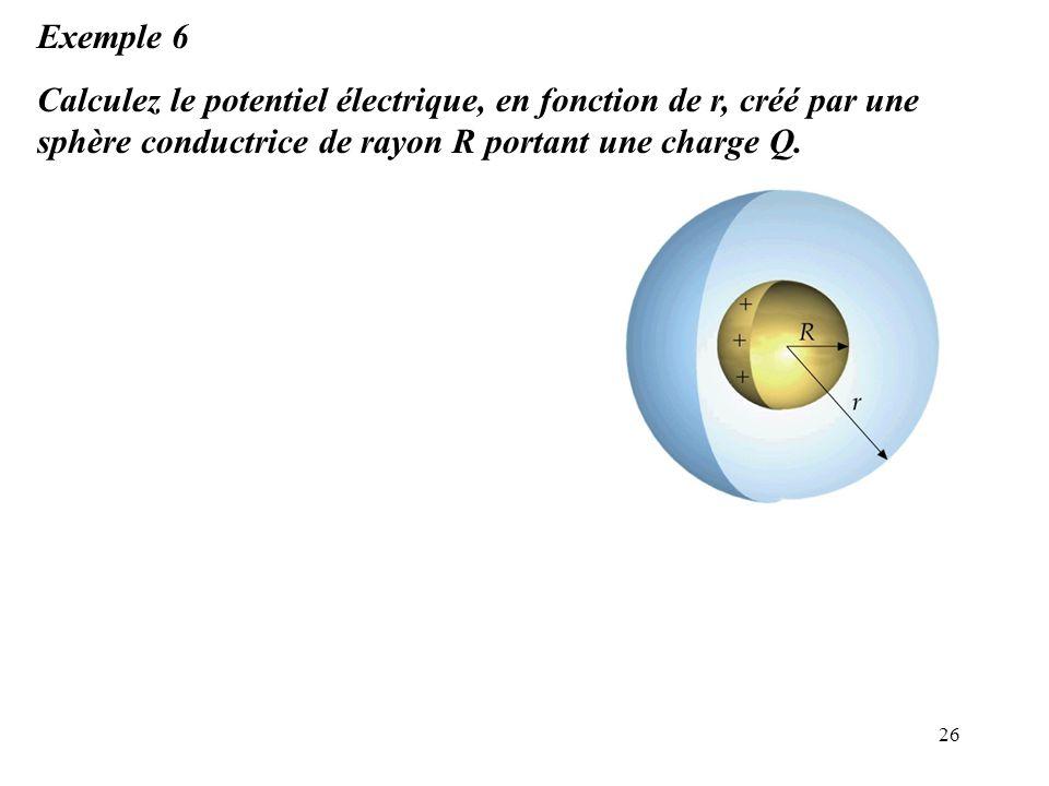26 Exemple 6 Calculez le potentiel électrique, en fonction de r, créé par une sphère conductrice de rayon R portant une charge Q.
