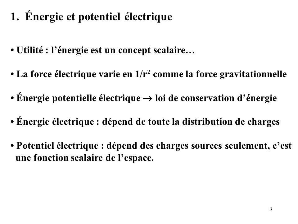 3 1. Énergie et potentiel électrique Utilité : l'énergie est un concept scalaire… La force électrique varie en 1/r 2 comme la force gravitationnelle É