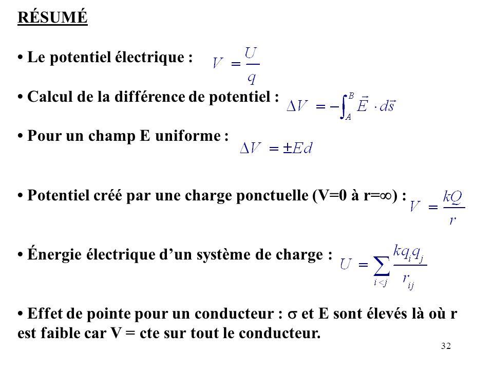 32 RÉSUMÉ Le potentiel électrique : Calcul de la différence de potentiel : Pour un champ E uniforme : Potentiel créé par une charge ponctuelle (V=0 à