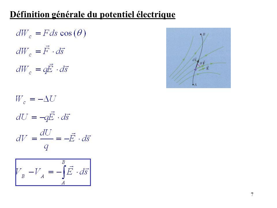 7 Définition générale du potentiel électrique