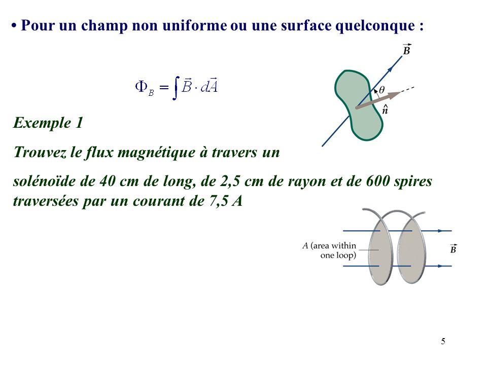 5 Pour un champ non uniforme ou une surface quelconque : Exemple 1 Trouvez le flux magnétique à travers un solénoïde de 40 cm de long, de 2,5 cm de ra