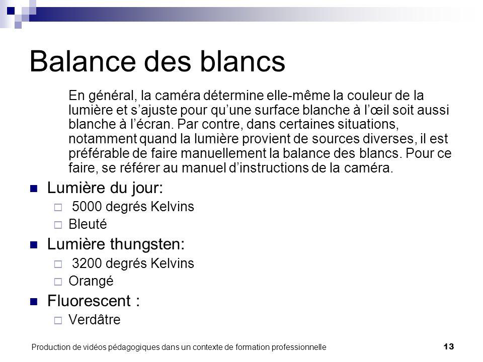 Production de vidéos pédagogiques dans un contexte de formation professionnelle13 Balance des blancs En général, la caméra détermine elle-même la couleur de la lumière et s'ajuste pour qu'une surface blanche à l'œil soit aussi blanche à l'écran.