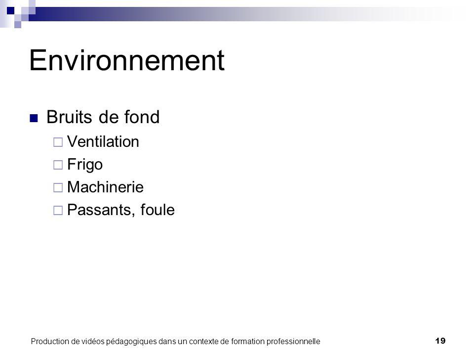 Production de vidéos pédagogiques dans un contexte de formation professionnelle19 Environnement Bruits de fond  Ventilation  Frigo  Machinerie  Passants, foule