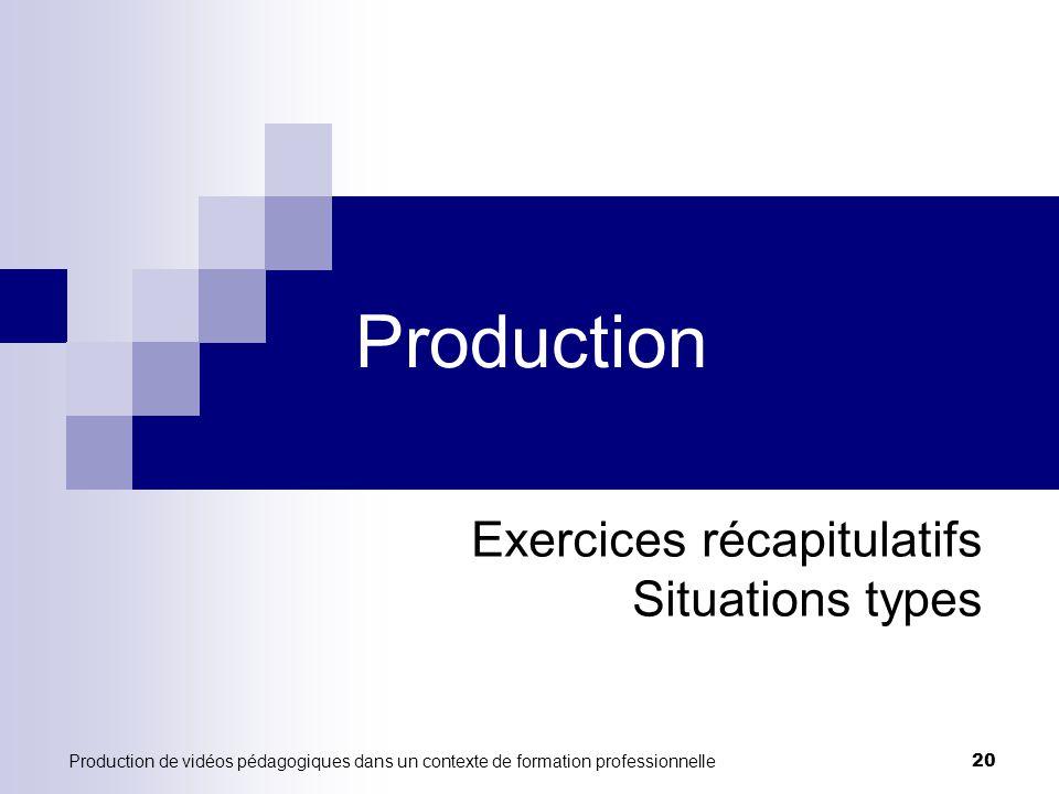 Production de vidéos pédagogiques dans un contexte de formation professionnelle 20 Production Exercices récapitulatifs Situations types