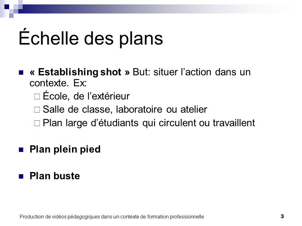 Production de vidéos pédagogiques dans un contexte de formation professionnelle4 Échelle des plans (suite) Plan tête Gros plan + Ne pas couper dans les articulations.