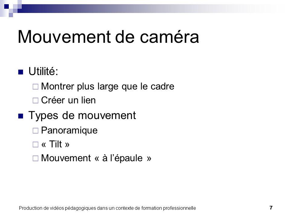 Production de vidéos pédagogiques dans un contexte de formation professionnelle7 Mouvement de caméra Utilité:  Montrer plus large que le cadre  Crée