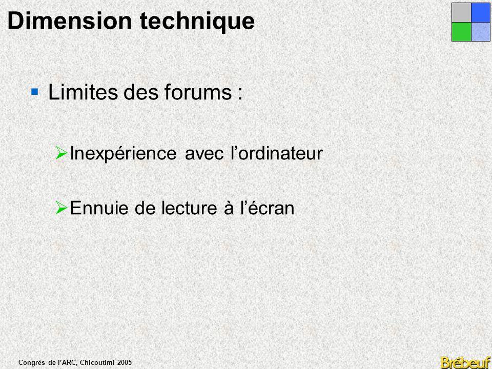 Congrès de l'ARC, Chicoutimi 2005 Dimension technique  Forces des forums :  La relecture des échanges  La liberté de travailler au moment et au lieu voulus  Le partage, la délégation et le suivi des tâches