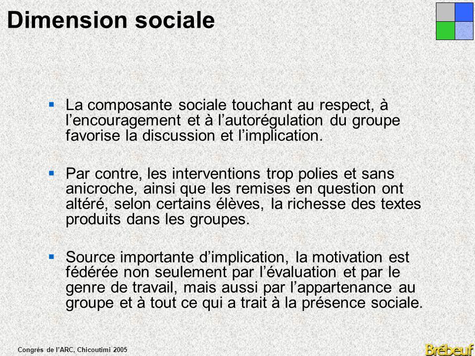 Congrès de l'ARC, Chicoutimi 2005  La communication asynchrone favorise davantage le développement de l'argumentation et la consolidation de la réflexion de chacun.