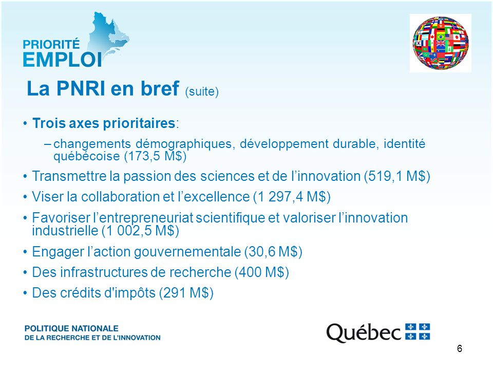 Viser la collaboration et l'excellence Participation des chercheurs dans les réseaux mondiaux de recherche (PNRI): -Soutien additionnel aux collaborations internationales -Fonds InnoMonde = PNRI 2014-2019 77,5 M$ -+ Stratégie électrification des transports (+9,2 M$) Rayonnement international 12