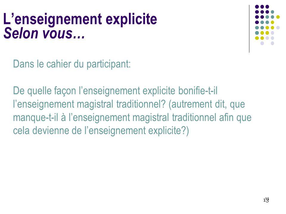 13 L'enseignement explicite Selon vous… Dans le cahier du participant: De quelle façon l'enseignement explicite bonifie-t-il l'enseignement magistral