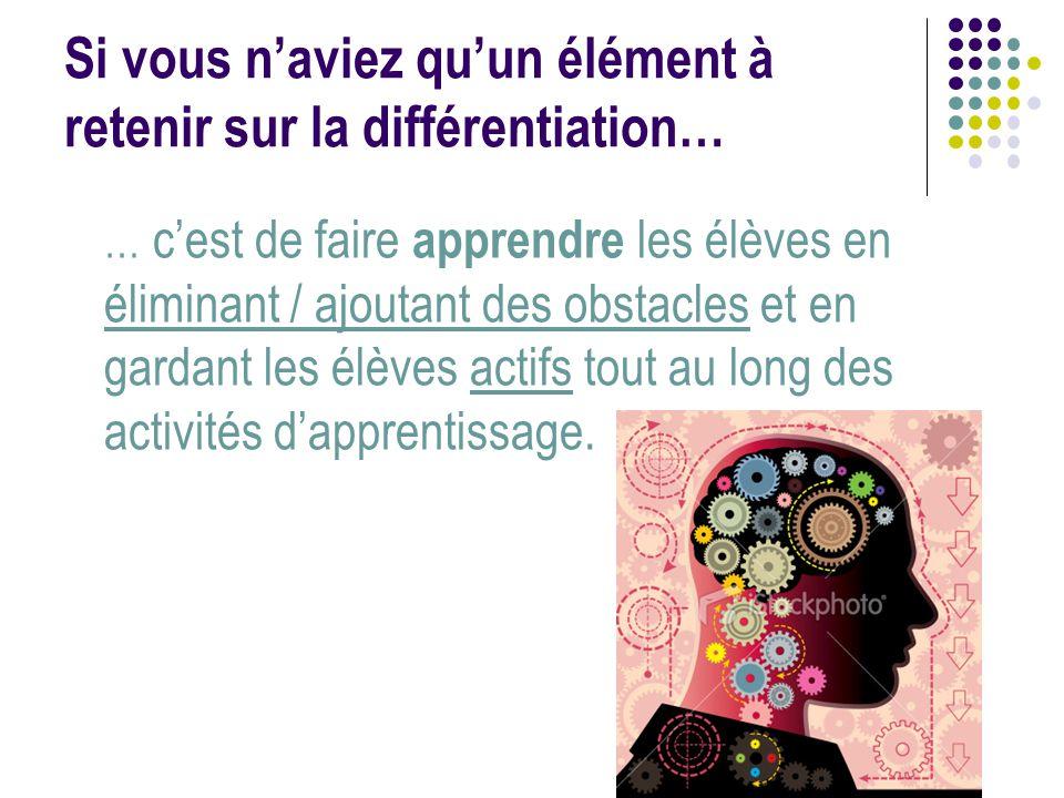 Si vous n'aviez qu'un élément à retenir sur la différentiation… … c'est de faire apprendre les élèves en éliminant / ajoutant des obstacles et en gard