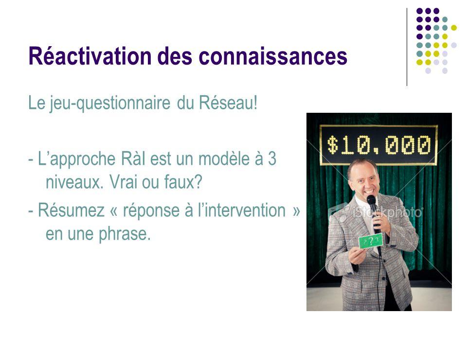 Réactivation des connaissances Le jeu-questionnaire du Réseau! - L'approche RàI est un modèle à 3 niveaux. Vrai ou faux? - Résumez « réponse à l'inter