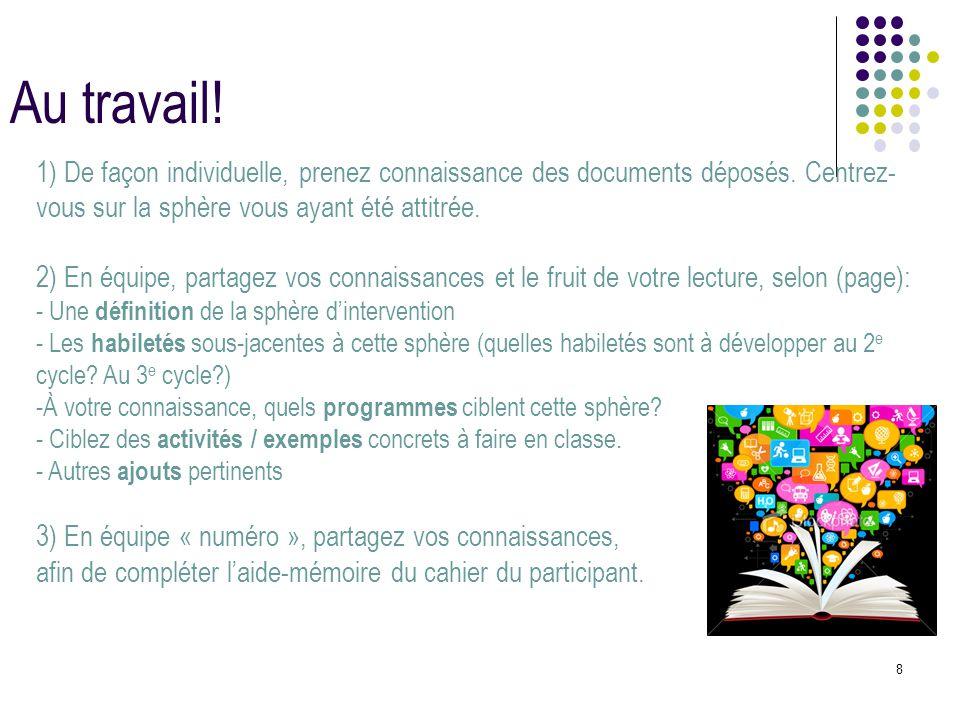 8 Au travail! 1) De façon individuelle, prenez connaissance des documents déposés. Centrez- vous sur la sphère vous ayant été attitrée. 2) En équipe,