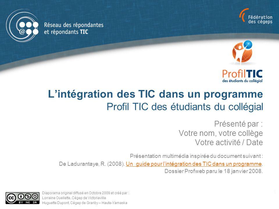 L'intégration des TIC dans un programme Profil TIC des étudiants du collégial Présenté par : Votre nom, votre collège Votre activité / Date 1 Diaporam