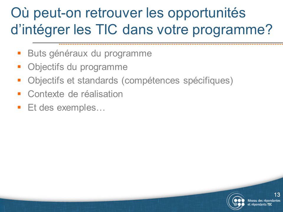 Où peut-on retrouver les opportunités d'intégrer les TIC dans votre programme?  Buts généraux du programme  Objectifs du programme  Objectifs et st