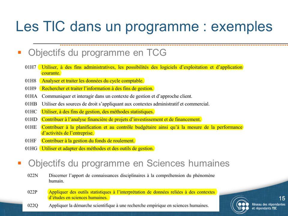  Objectifs du programme en TCG  Objectifs du programme en Sciences humaines Les TIC dans un programme : exemples 15
