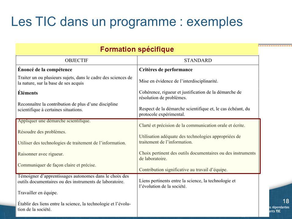 Les TIC dans un programme : exemples 18 Formation spécifique